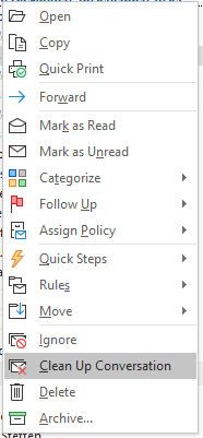 Outlook Cleanup Screenshot