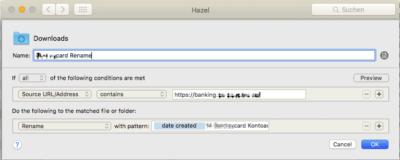 Automatisierung mit Hazel: Banking_Rename