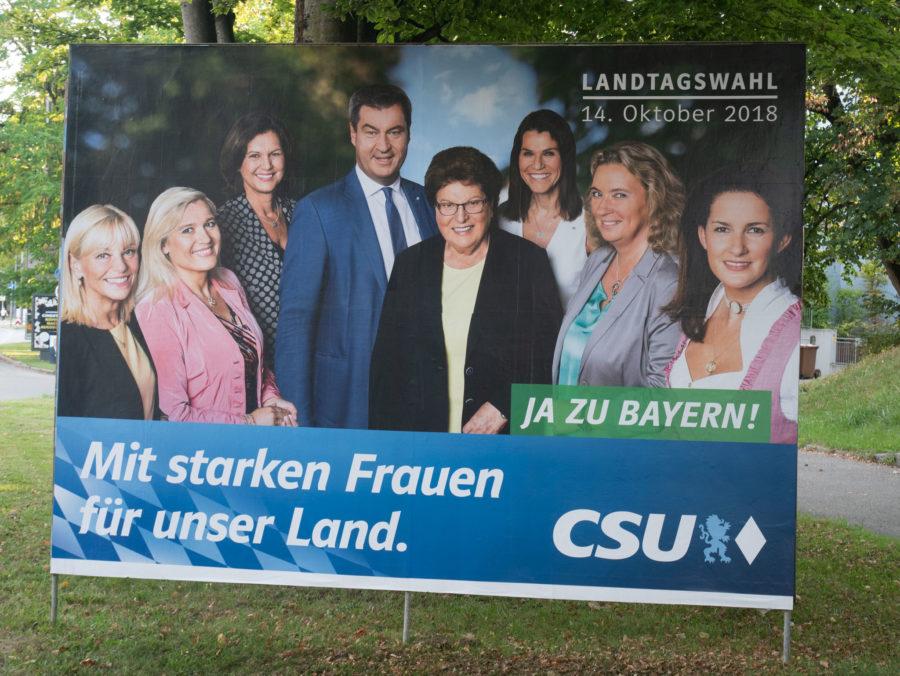Wahlplakat 2018 CSU Gruppenbild Damen mit Herr