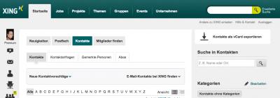 XingVCardExport - Screenshot xing.de