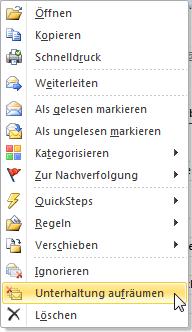 Outlook Email Aufräumen und Ignorieren