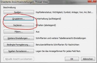 Outlook Email Ansicht - Gruppieren einstellen