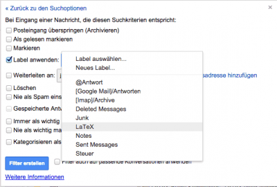 GoogleMail - Filter Action