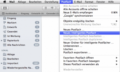 Mac OS X Mail - New Intelligent Folder
