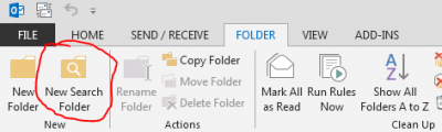 Outlook - New Search Folder