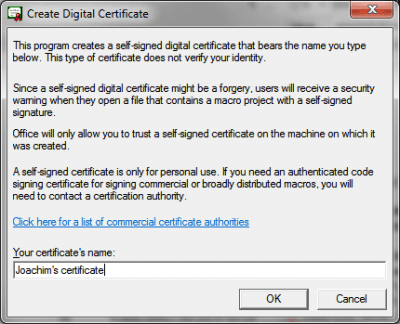 MS Office Selfcert