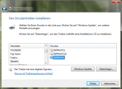 Windows Update Treiberauswahl